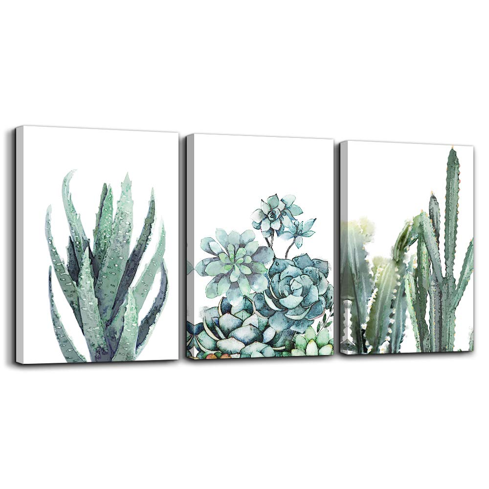 "TTHWALLART Canvas Wall Art Living Room Bathroom Wall Decor Bedroom Kitchen Artwork Canvas Prints Green Plant Flowers Painting 12"" x 16"" 3 Pieces Modern Framed Office Home Decorations Family Picture"