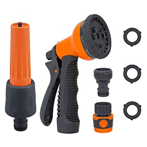 Garden Hose Nozzle Sprayer Set, Anti Leak Free Hose Sprayers, Heavy Duty 8 Watering Patterns and High Pressure Adjustable Classic Hose Spray Gun for Watering Plants and Washing Cars and Pets, Set of 2