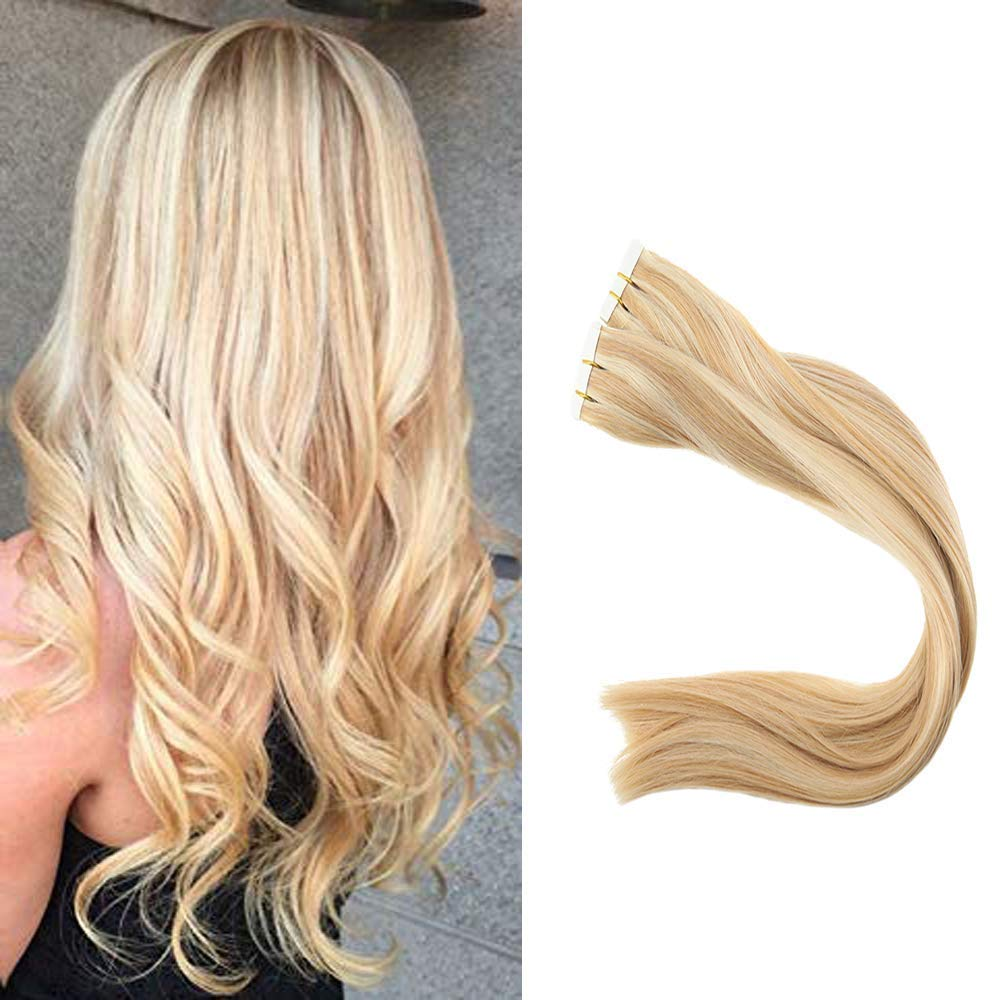 Full Shine Hair 20 inch Dip Dye Tape Hair Extensions #24 Light Blodne & #27 Strawberry Blonde Highlight Color 100 Human Hair Extensions 100g Per Package Balayage Hair Tape in by Full Shine
