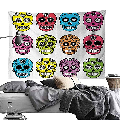 Bedroom Tapestry Skulls Decorations Collection Ornate Colorful Traditional Mexian Halloween Skull Icons Dead Humor Folk Art Print Hippie Tapestry W80 x L60 Multi