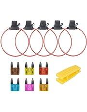 qlouni 12pcs standard auto blade fuses holder kit, 6pcs mini car fuse+5pcs  in