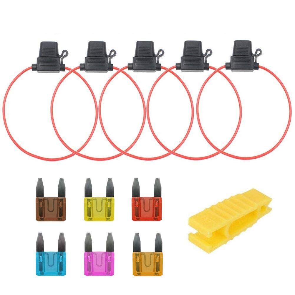 6PCS Mini Car Fuse+5PCS In-line Fuse Holder Box+Fuse Extractor QLOUNI 12PCS Standard Auto Blade Fuses Holder Kit Fuse Replacement Assortment Kit 3A 5A 7.5A 10A 15A 20A for Truck SUV Boat Caravan