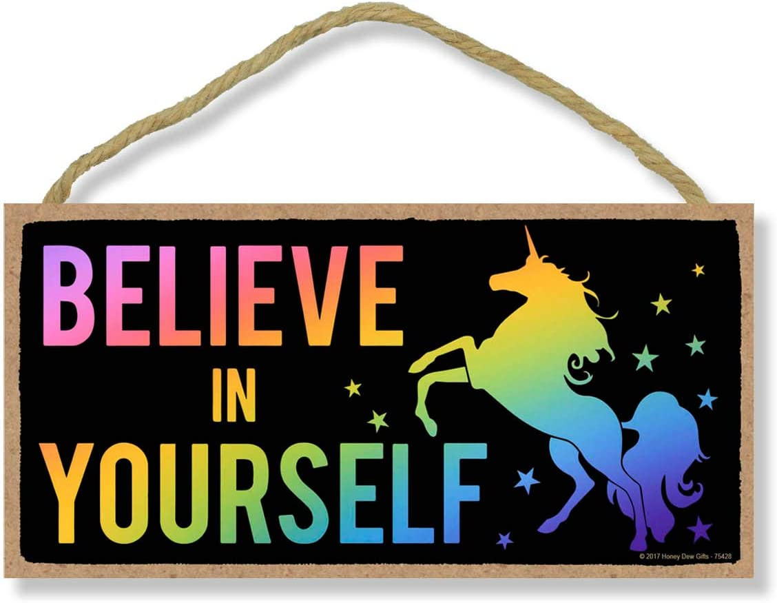 Believe in Yourself - Rainbow Unicorn - 5 x 10 inch Hanging Wall Art, Decorative Wood Sign Home Decor