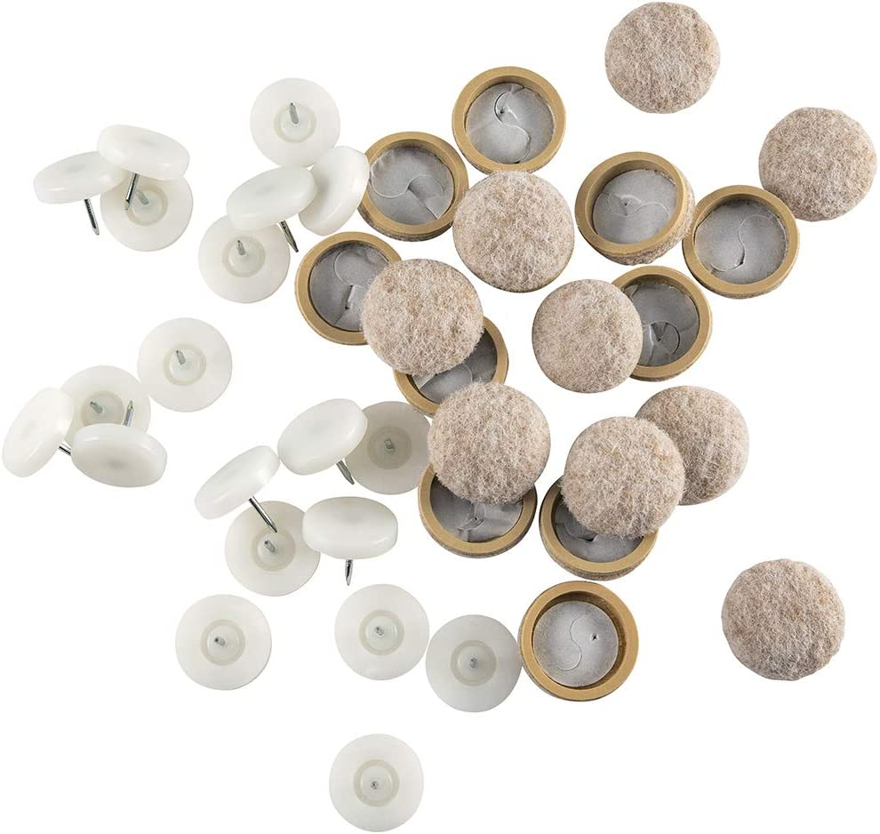 Super Sliders Twin Shield System Heavy Duty Nail On Protection with Replaceable Felt Pads, 1 Inch Round, 20 Pack (1 Inch, Beige)