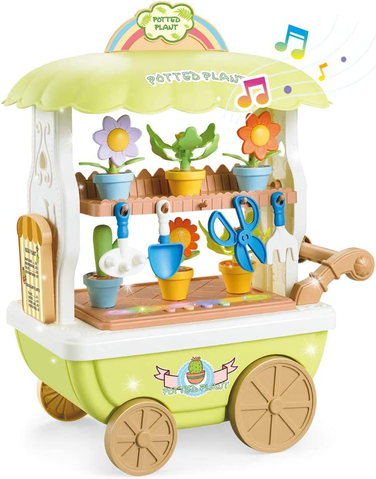 BeebeeRun Flower Garden Cart Toys for Kids,Flower Selling Toys with Light and Sounds, Creative DIY Build a Plants Potted- Ideal Christmas Birthday Gifts for 3,4,5,6 Year Old Girls