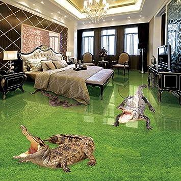 Ohcde Dheark Benutzerdefinierte Fototapete Green Meadow Krokodil 3D Stereo  Badezimmer Wohnzimmer Pvc Boden Wasserdicht Wandbild