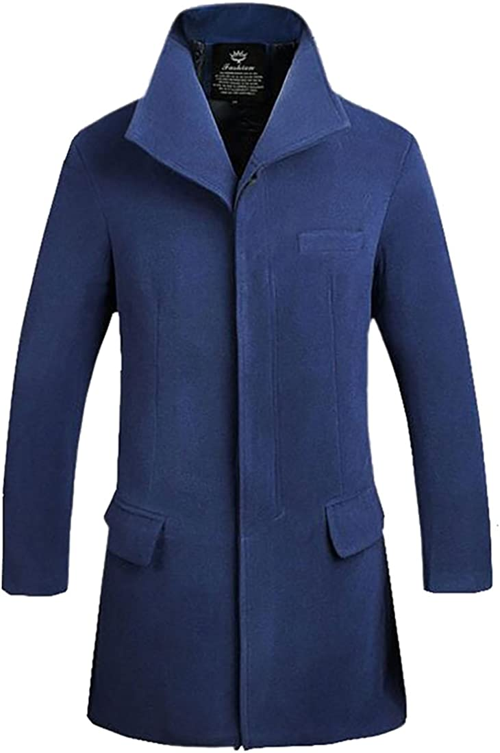 tescous Mens Fashion Long-Sleeved Thick Warm Solid Color Woolen Wool Pea Trench Coat