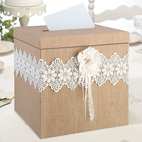 Rustic Burlap and Lace Box Card Wedding Gift Reception Holder by KJE Global