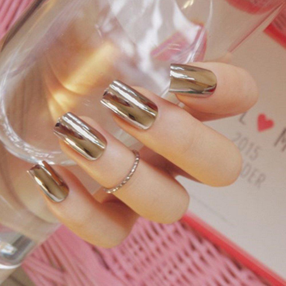 Goldenssy 24 uñas postizas francesas, efecto espejado, Metálico, Color Puro, Completas, Manicura, puntas postizas de uñas: Amazon.es: Belleza