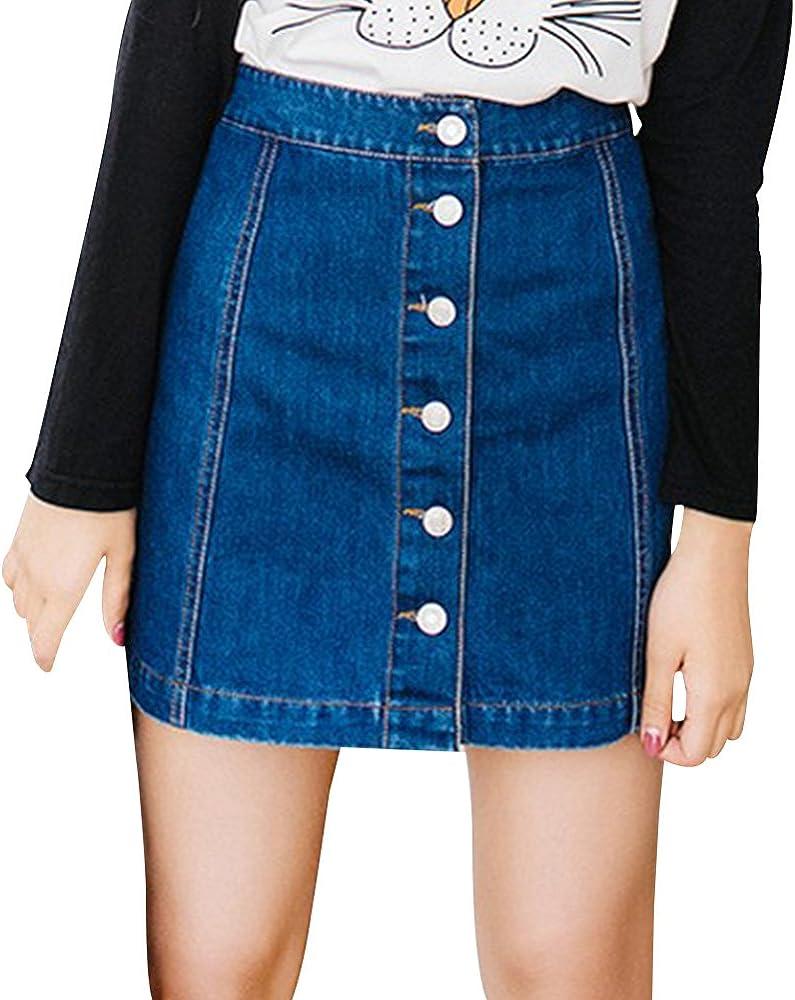 OuYou Mujeres Verano Faldas Casual Diseño de Botones Apretado ...