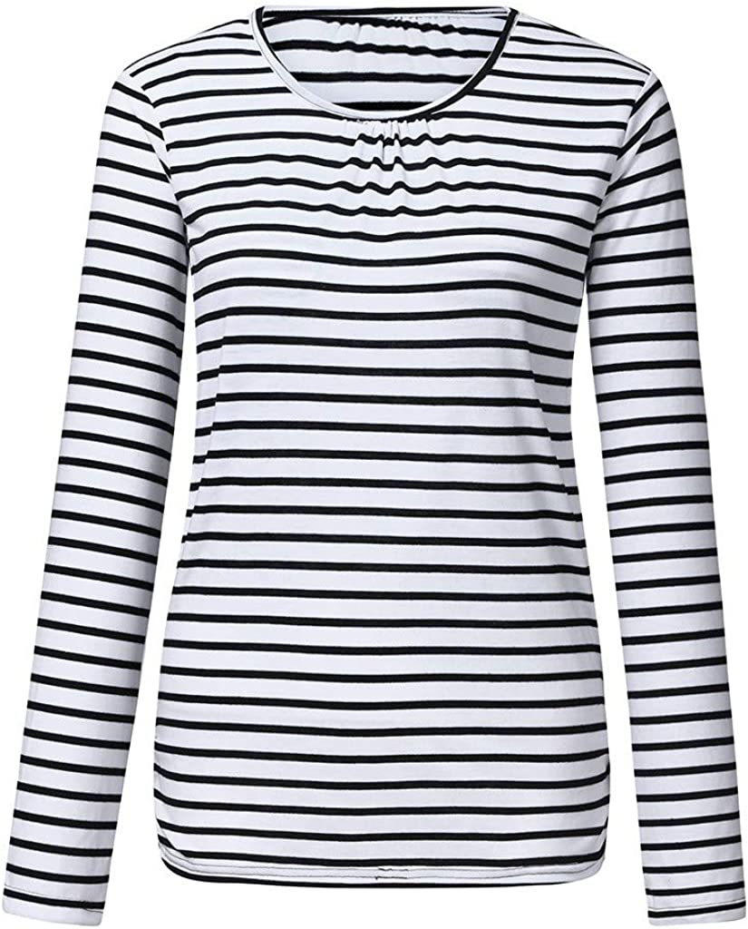 WoWer Womens Pregnant Women Long-Sleeved Striped Nursing Top T-Shirt for Breastfeeding Mother Multifunctional Maternity Shirt Maternity Shirt Nursing Tops Maternity Clothing