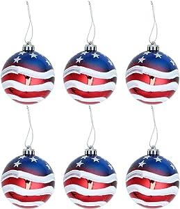 LUOEM Christmas Ball Ornaments Patriotic Hanging Balls Tree Balls Branches Decor Holiday Wedding Tree Decorations 6pcs