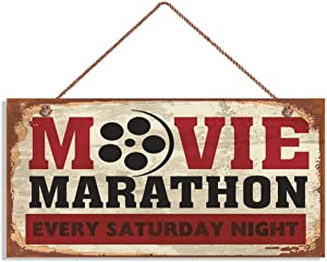 "MAIYUAN Retro Cinema Sign, Movie Marathon Every Saturday Night Rustic Decor, Movie Theater Decor, 6"" x 12"" Sign, Plaque, Signs(E2-WH8162)"