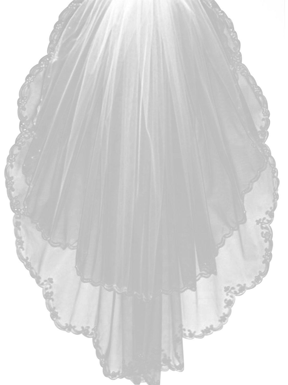 Sisjuly Women's 2T Tulle Wedding Bridal Veil with Floral Beaded Edge White