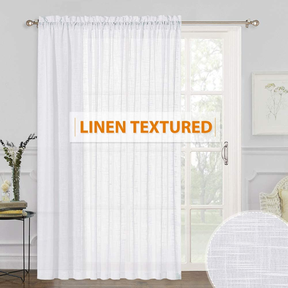 Amazon Com Ryb Home White Sheer Curtains Linen Sheer Curtain Large Window Privacy Semi Sheer For Living Room Dining Bedroom Patio Sliding Glass Door Window Decor 100 Inches Wide X 84 Inches