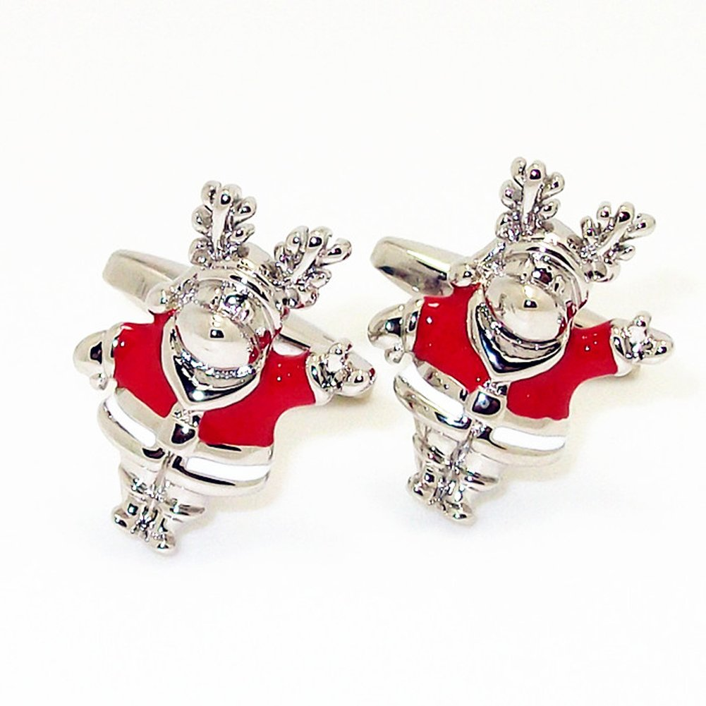 Fancy Christmas Cufflinks Xmas Cuff Links Perfect Gift for Christmas Eve Noel New Year (Santa Claus)