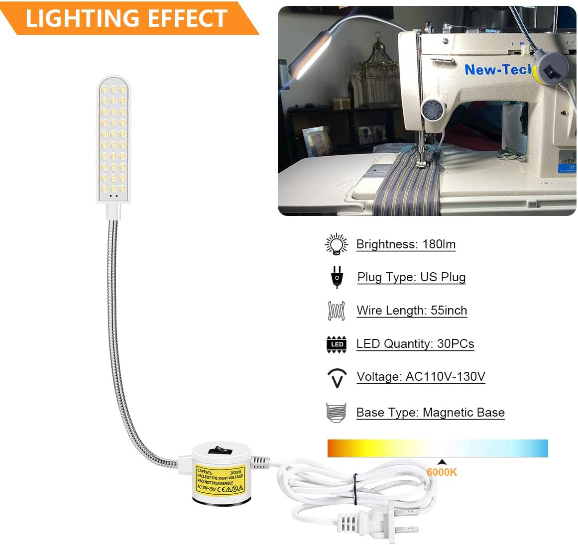 Sewing Machine Light Magnetic Base Light with 110V to 240V Wide Voltage and Powerful Magnet Base LED Lamp Drill Press Light Suitable for Many Sewing Work Stration