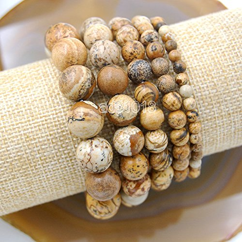 Wholesale Natural Gemstone Beads Stretch Bracelet Healing Reiki 4,6,8,10,12mm (4mm, Picture Jasper) -