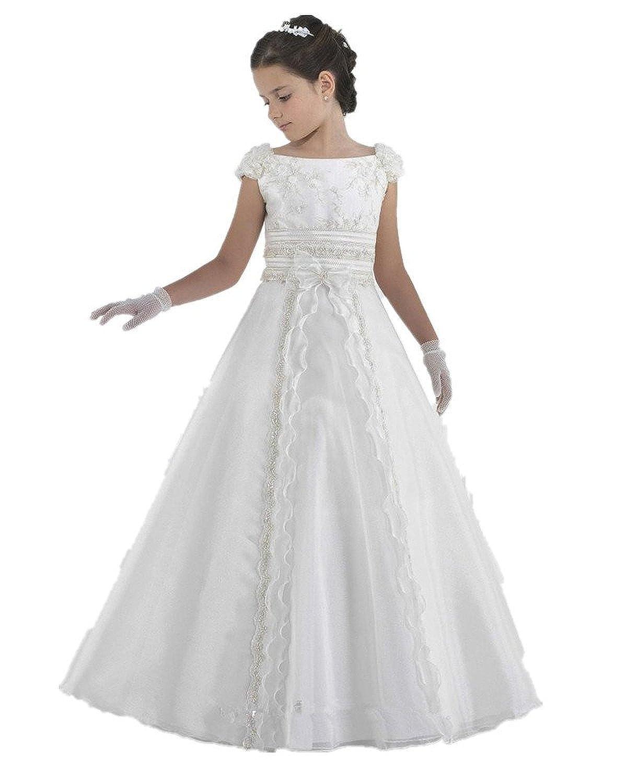 Amazon.com: MissProm White Kids First Communion Dress Long Flower ...