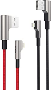 AUKEY Right Angle Lightning Cable (6.6ft - 2 Pack) Nylon Braided [ Apple MFi Certified ] Ideal for Playing Games iPhone Charging Cable Compatible with iPhone 11 / X / 8 / 6, iPad