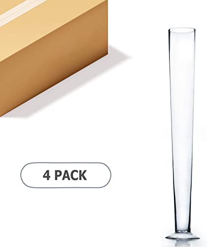 WGV Trumpet Glass Vase Bulk, Open 5 , Height 31.5 , Clear Elegant Unique Tall Pilsner Floral Planter Container Centerpiece for Wedding Party Event Office Home Decor, 4 Pieces