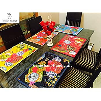 Ganesham Handicraft  Indian Handmade New Kantha Quilt Dinning Table Cotton Table  Mats, Table Runner