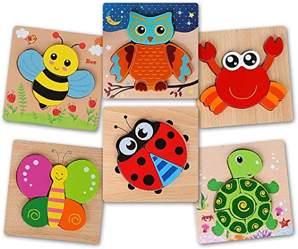 BeebeeRun Wooden Puzzles for Toddlers 1-3,6 Pack Animal Jigsaw Puzzles Toys for 1 2 3 Years Old Boys & Girls, Kids Educational Toys Gifts