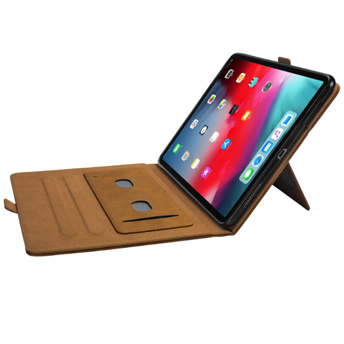 iPad 6th Generation Cases with Pencil Holder, Premium PU Leather Folio Case Soft TPU Back Protective Stand Cover with Card Slots for iPad 9.7 Inch 2018 (6th Gen) / iPad 9.7'' 2017 (5th Gen) –Khaki by KATEGY (Image #6)