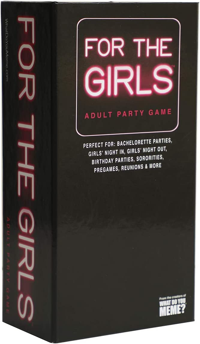 This is an image of a girl card game set in black box with neon pink print at the front.