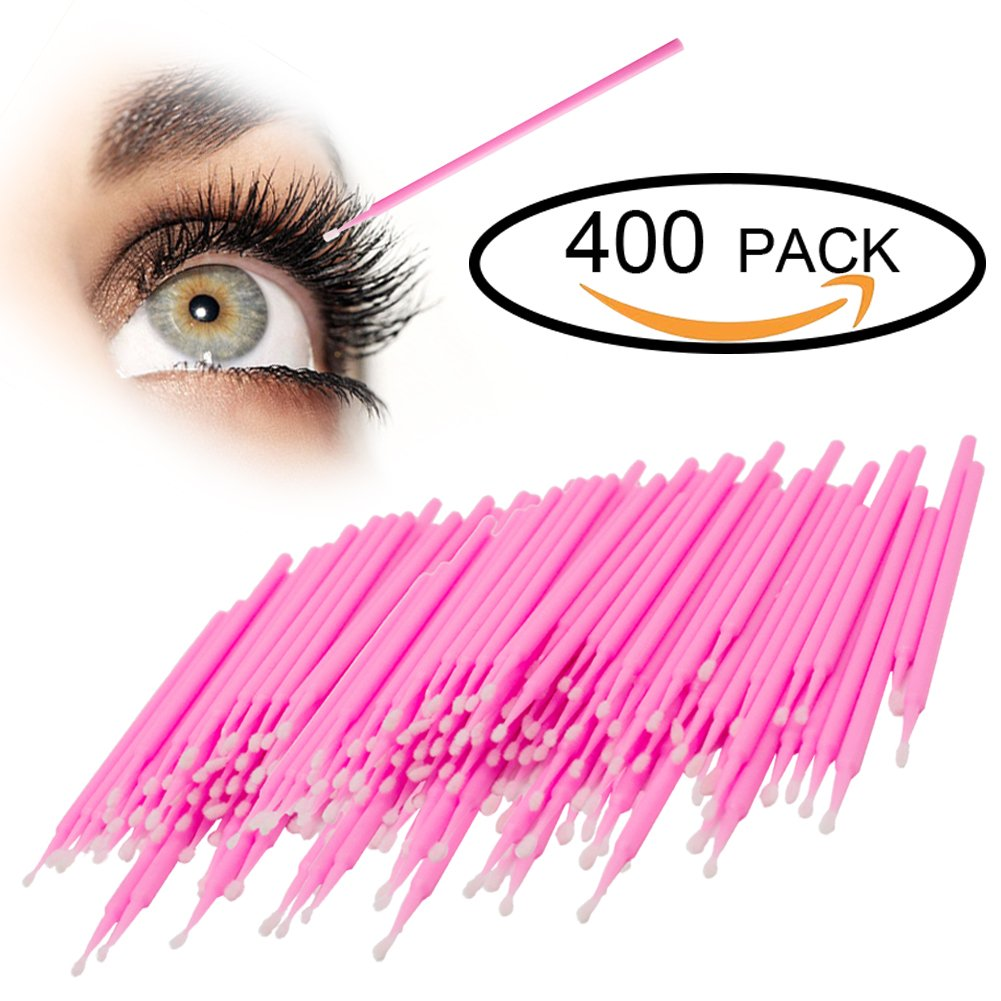 GoWorth 400Pcs Durable Micro Disposable Eyelash Extension Individual Applicators Mascara Brush For Make up and Clean and compatible and eyelash dedicated