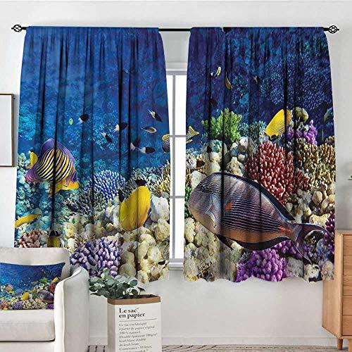 Anzhutwelve Ocean,Patio Door Curtains Ight Bocking Untouched Wild Marine Life 42