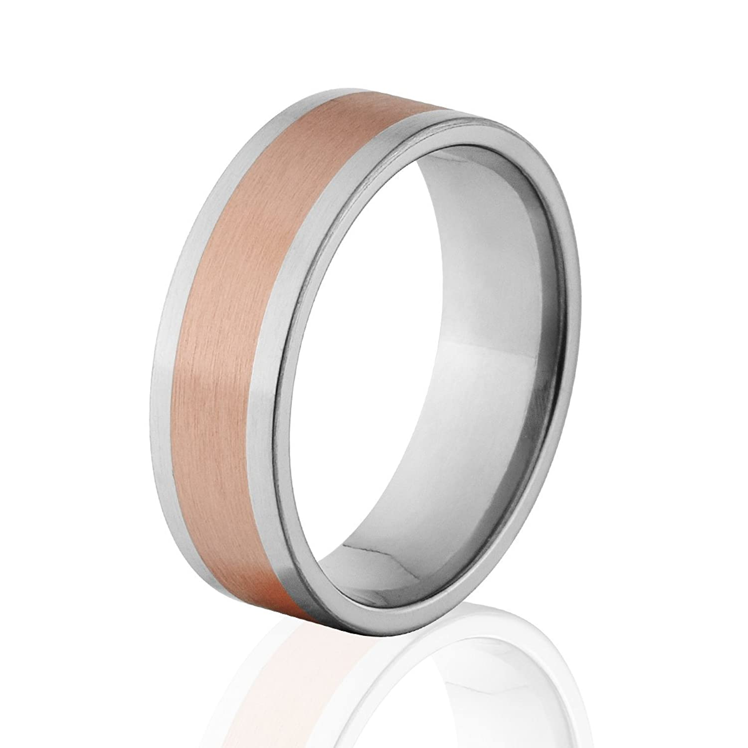 7mm Titanium Wedding Ring With Copper Inlay, Copper Rings, Copper Wedding Band