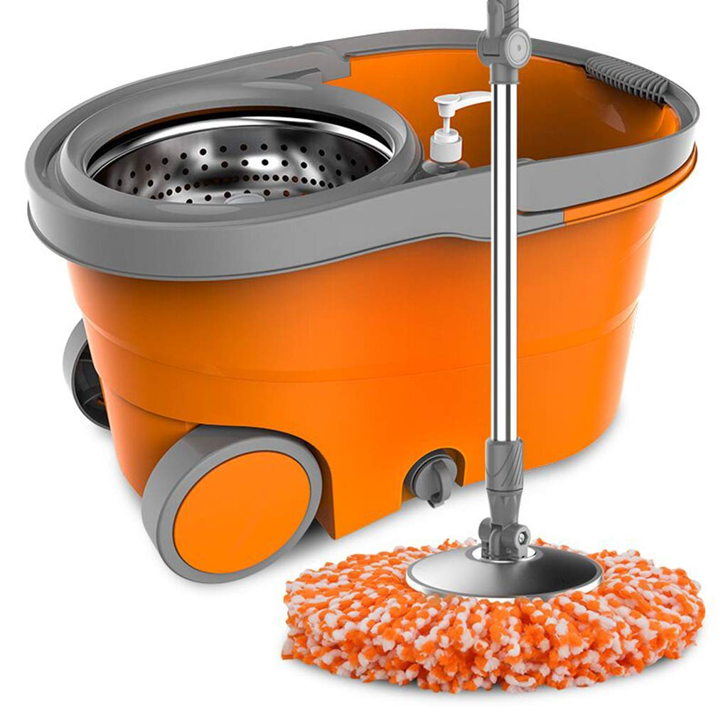 Happy Time Drag The Barrel Rotary mop Double Drive Home Drag Free Hand wash Automatic Drying Dry and Wet Two-Water Extrusion mop Bucket,A