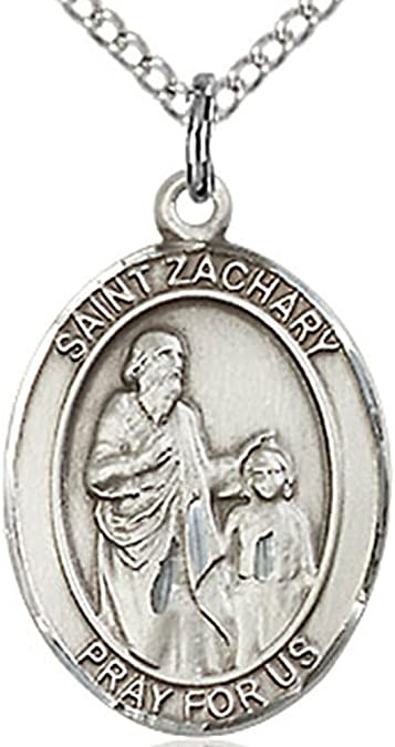 Womens Sterling Silver Saint Zachary Oval Medal 18 Inch Sterling Silver Chain /& Clasp
