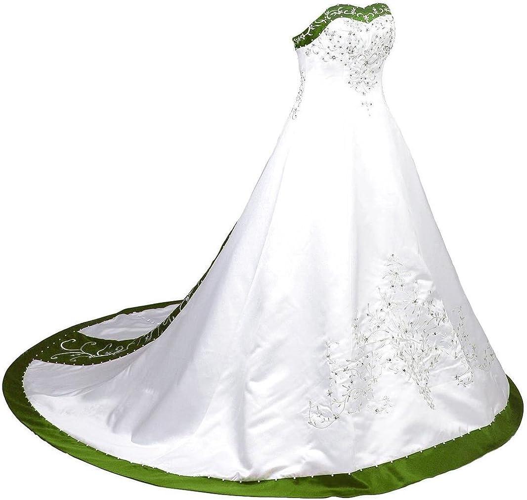 Edaier Womens Court Train Embroidered Satin Wedding Dress Bride Gown