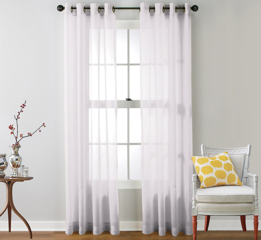 HLC.ME 2 Piece Sheer Window Curtain Grommet Panels White