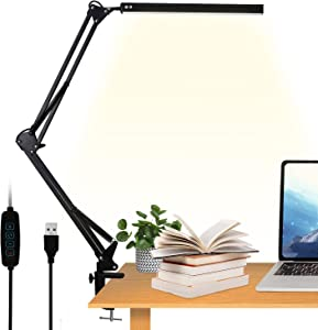 LED Desk Lamp with Clamp, VEHHE Eye-Caring Swing Arm Office Lamp, 3 Color Modes 10 Adjustable Brightness Levels Table Light, Memory Function, Modern Architect Lamp for Home Office Reading Study Work