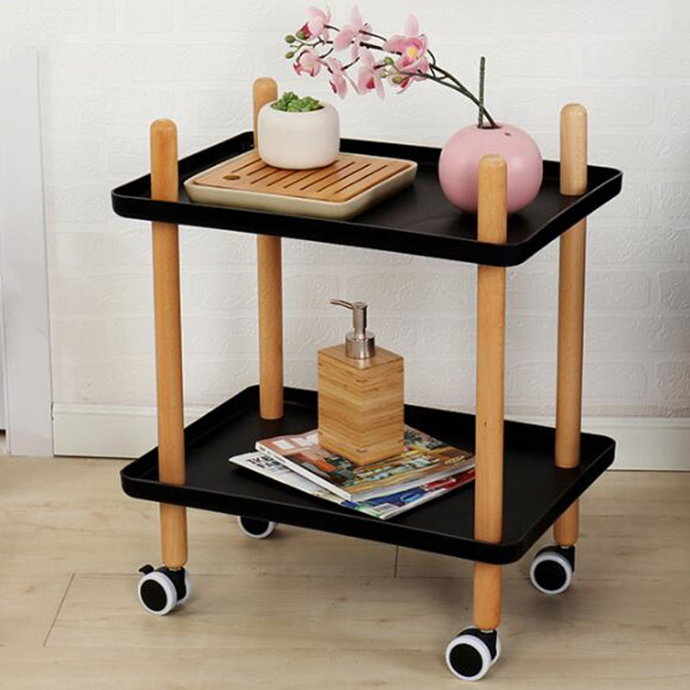 FEIFEI リビングルームミニソリッドウッドコーナーテーブル(ホイール付き)リムーバブルコーヒーテーブル (色 : 02) B07F9R1H1D 2 2