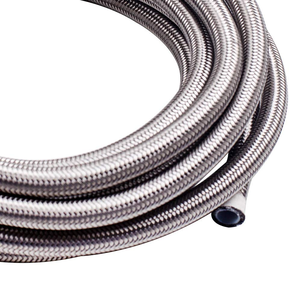 maXpeedingrods 6AN 20FT Stainless Steel PTFE E85 Silver Fuel Line Black Fitting Hose Kit AN6 12Feet Sliver