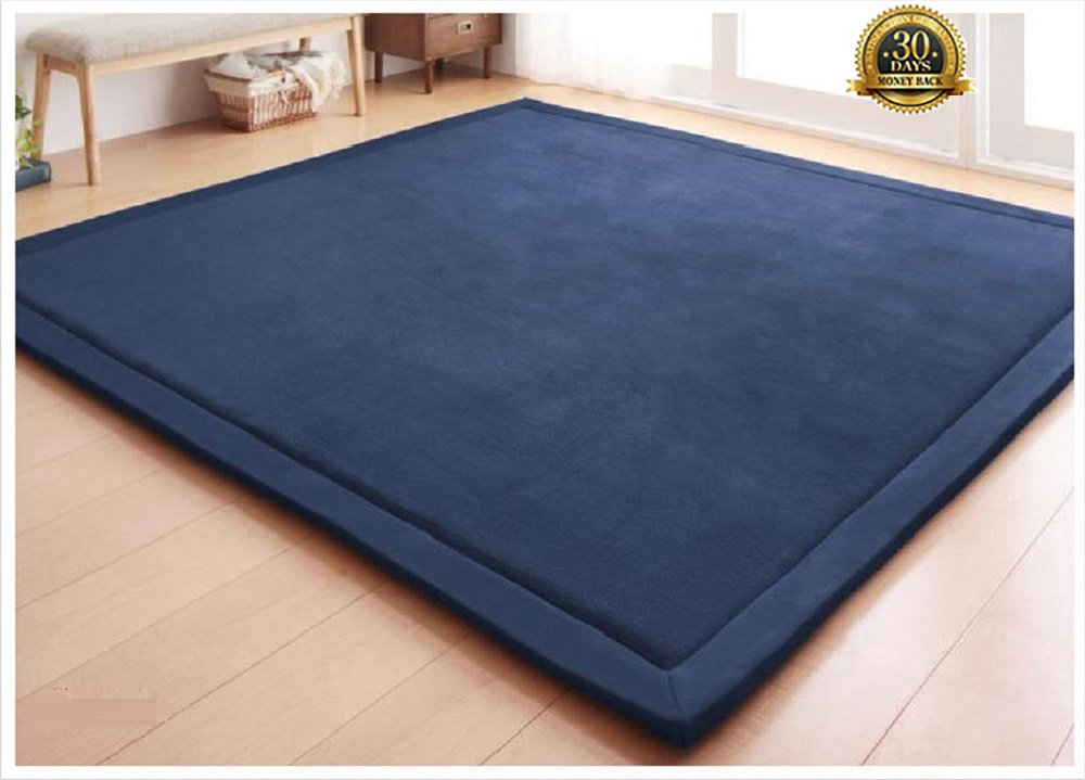 HIGOGOGO Japanese Coral Velvet Carpet Thickness:2cm, 75 by 94 inch Children Play Mat Pure Color and Reversible Living Room Carpet, Plush Foam Bedroom Mat Area Rug Yoga Mat/Exercise Mat