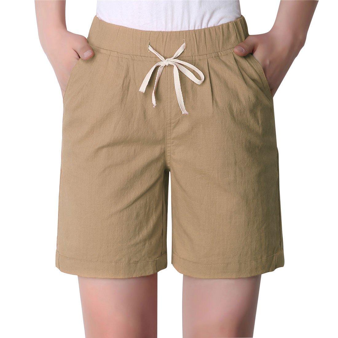 Chartou Women's Modest Loose Elastic-Waisted Bermuda Drawstring Casual Shorts (Large, Khaki)