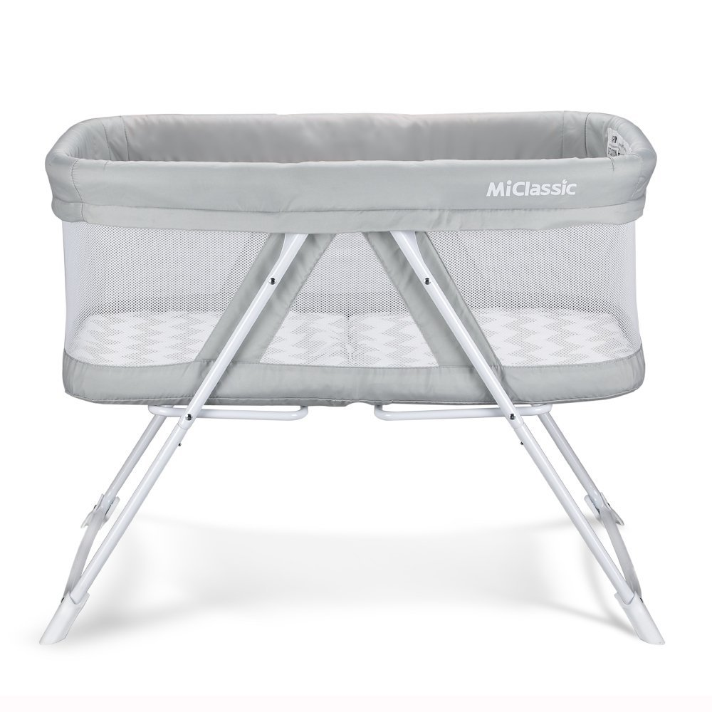 2in1 Stationary&Rock Mode Bassinet One-Second Fold Travel Crib Portable Newborn Baby,Gray by MiClassic