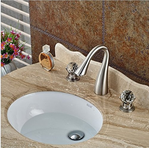 GOWE Elegant Luxury Brushed Nickel Bathroom Basin Faucet Crystal Glass Ball Handles 8'' Vessel Sink Mixer Tap by Gowe (Image #2)