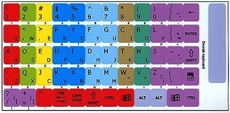 Dvorak Learning - Adhesivo para teclado para ordenador portátil, escritorio y portátil