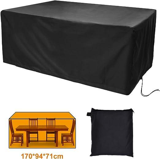 CT Funda Protectora para Muebles de jardín Funda Oxford Impermeable y Transpirable Funda Protectora para mesas de jardín, sillas y Juegos de Muebles, Rectangular (170x94x71cm): Amazon.es: Jardín