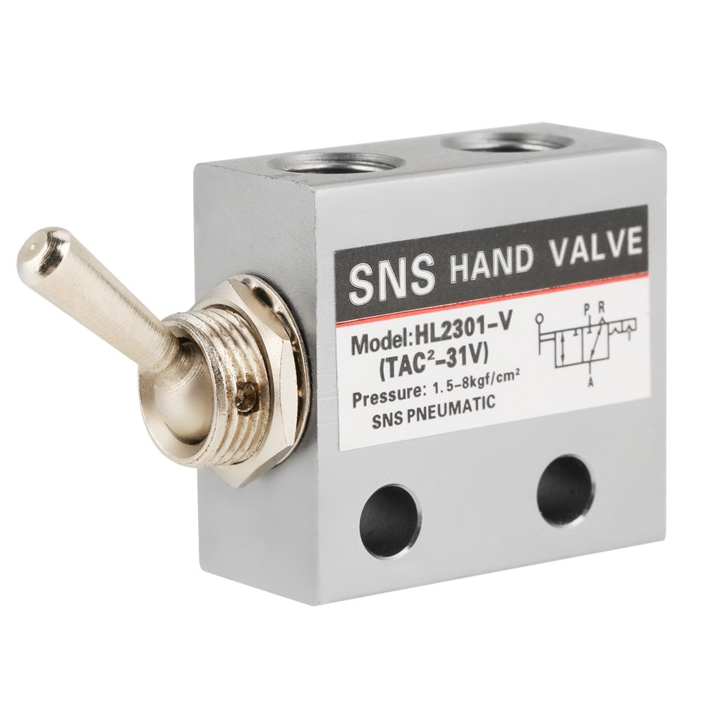 3 Position 2 Port Air Pneumatic Knob Switch Valve HL2301 Metal Toggle Switch Pneumatic Mechanical Valve Pack of 1 by Wifehelper