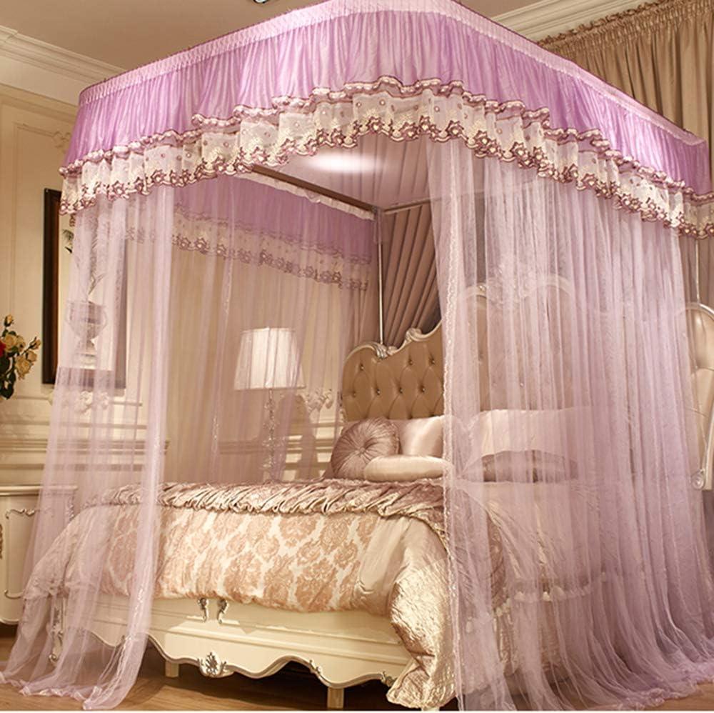 姫ベッドキャノピー,の-形の刺繍 防蚊ネット ヨーロピアンスタイル 1のためのステンレス鋼サポートが付いている暗号化糸のベッドのカーテン.5 1.8 M ベッド-c