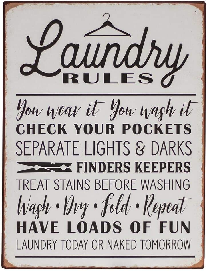 Laundry Rules Distressed Vintage Farmhouse Metal Sign for Laundry Room Decor