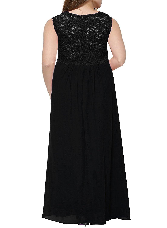 d904cdb7802 Nemidor Women s Lace Top Deep V-Neck Plus Size Evening Vintage Maxi Dress   Amazon.co.uk  Clothing