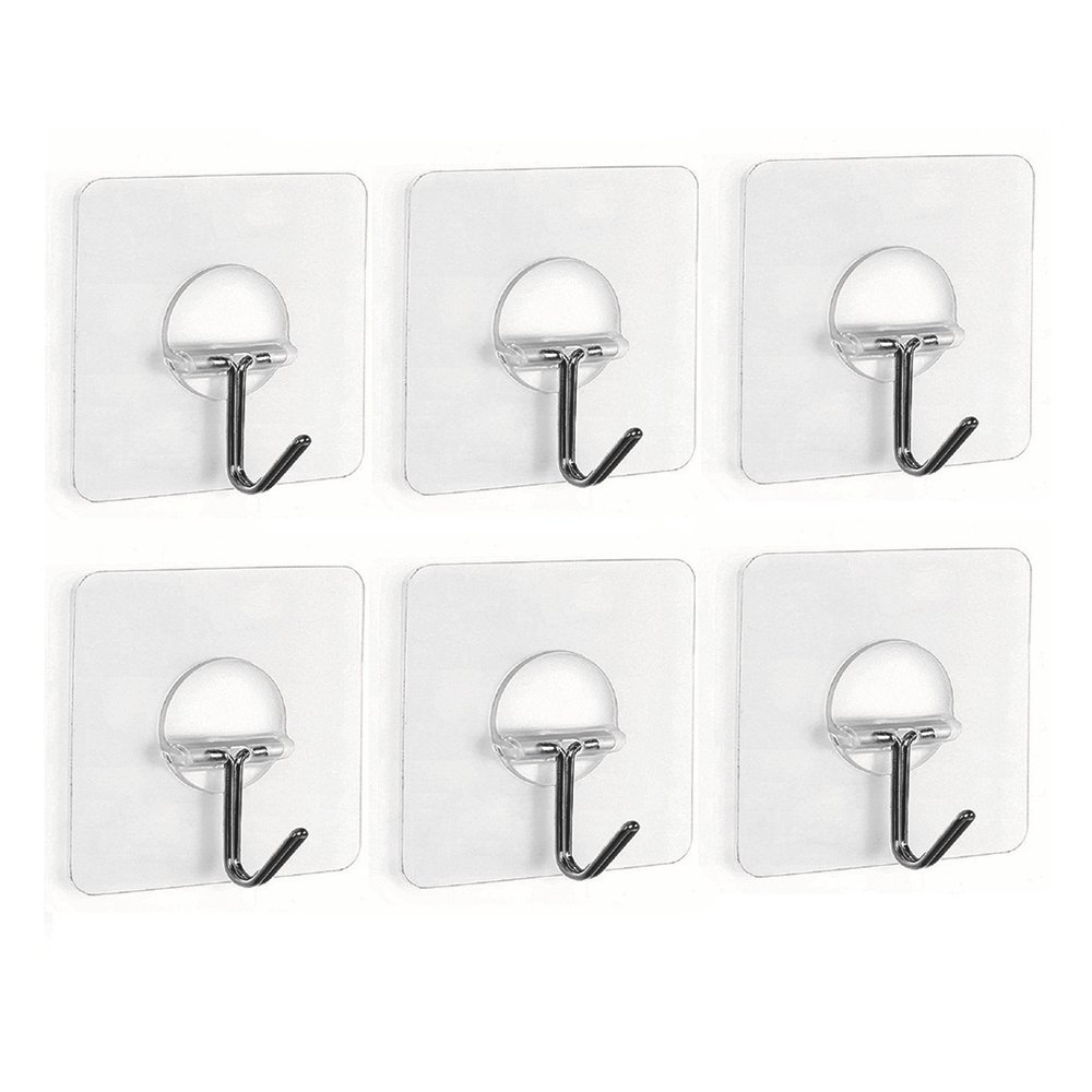 Fealkira 13.2lb/6kg(Max) Nail Free Transparent Reusable Heavy Duty Wall Hooks for Towel Loofah Bathrobe Clothes,No Scratch,Waterproof and Oilproof,Bathroom Kitchen Wall hook & Ceiling Hanger(6) 50%OFF